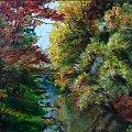 """""""Jesień na Mazowszu"""" akryl na płótnie; werniksowany; wymiary 30x40 cm; rok 2011 #jesień #Mazowsze #park #malarstwo #akryl #obraz #widoki #krajobraz #kolory #drzewa"""