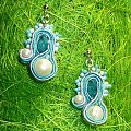 sutasz #kolczyki #sutasz #soutache #niebieskie #perły #turkus #turkusowe #awrybka