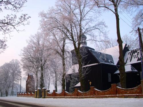 Kościół św. Piotra i Pawła w Kowalewie Opactwie #kosciol #KowalewoOpactwo #zima #foto #benq #DCC1030Eco #dzwonnica #swi #pejzaz