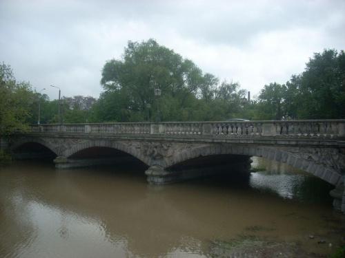 22 Maja 2010, godzina 13:10, cofka- rzeka od mostu grunwaldzkiego wraca z powrotem do źródeł.