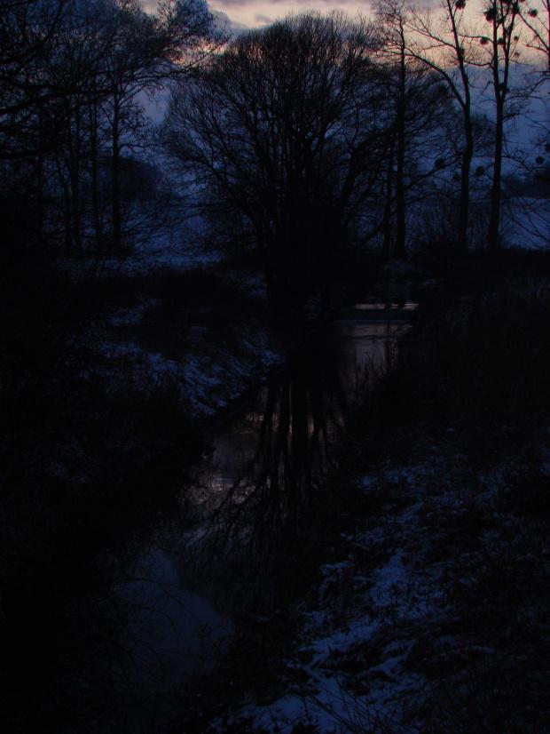 #rzeka #zima #zachód #słońca