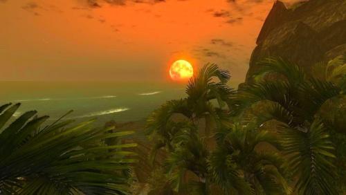 Gra Risen, wschód księżyca. #Risen #księżyc #tropical #island #tropikalna #wyspa #wakacje #lato #upał #palmy #palm #palma #screen #moon #sea #morze #ocean