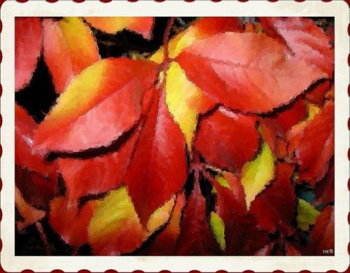 Pożegnać jesień ale inaczej #jesień #liście #DzikieWino #namalowane #inaczej