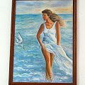 Dzieki Ci Wiesiu! To był dla mnie szok i radość ogromna, taki prezent ot tak sobie to tylko przyjaciele moga dawać! #obraz #namalowane #dziewczyna #morze